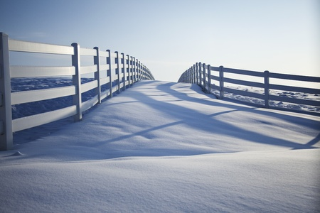 Fence disappearing into the horizon on a snow covered winter's day. Stock Photo - 8881238