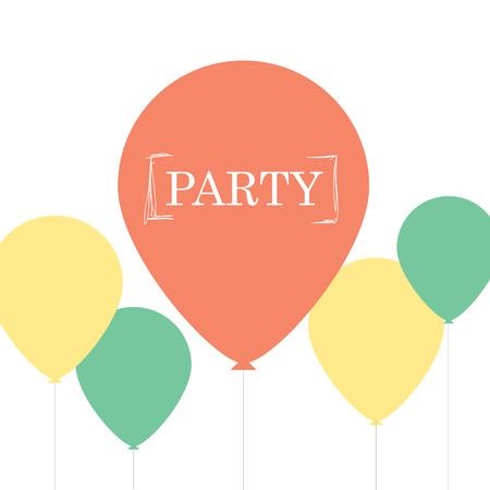 Minimalistische retro kaart ontwerp met ballonnen van de partij. Stock Illustratie