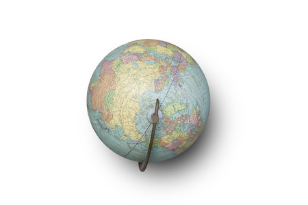 Isolated image of a world globe from a high vantage point. Clipping path included.  Zdjęcie Seryjne