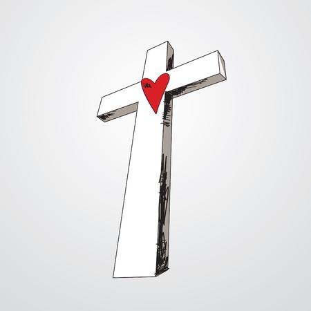 abstract cross: Croce disegnata a mano con un cuore rosso al centro.