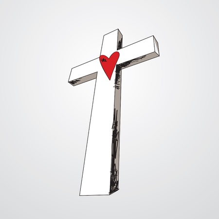 Hand drawn cross with a red heart in the middle.