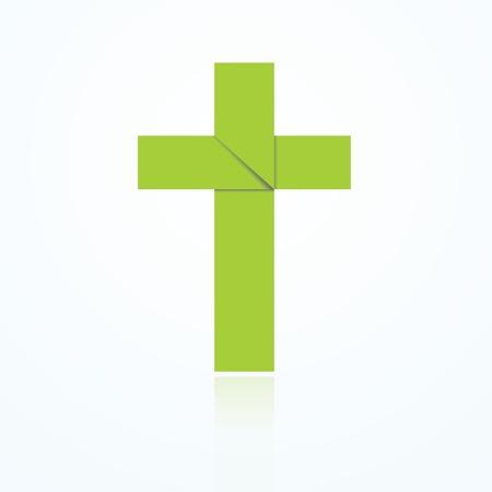 Origami art of a Christian cross.