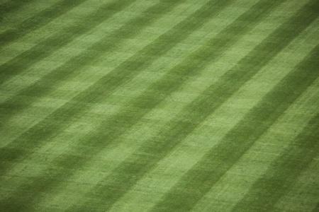 beisbol: Tiro horizontal del outfield cuidado césped en un estadio de béisbol.