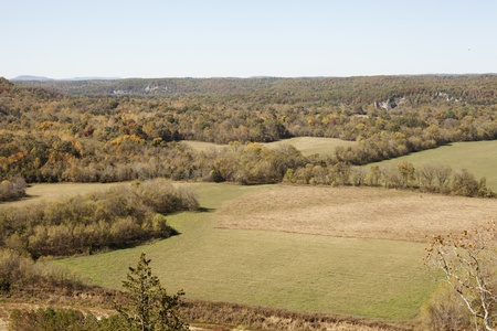 View from above of the ozark mountains in northern Arkansas at the beginning of fall. Stock Photo