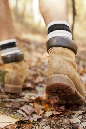 hiking boots: Close up of a man
