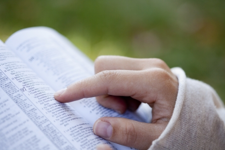 holy bible: Close-up of woman