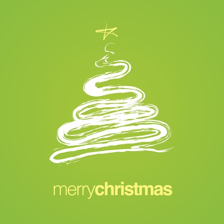 holiday celebrations: Simple Christmas tree with the words Merry Christmas.  Illustration