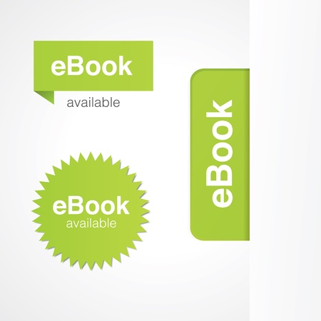 electronic publishing: eBook tabs and stickers for online and print advertising.