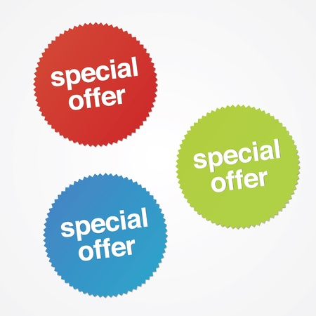discount banner: Modern special offer stickers with drop shadow.  Illustration