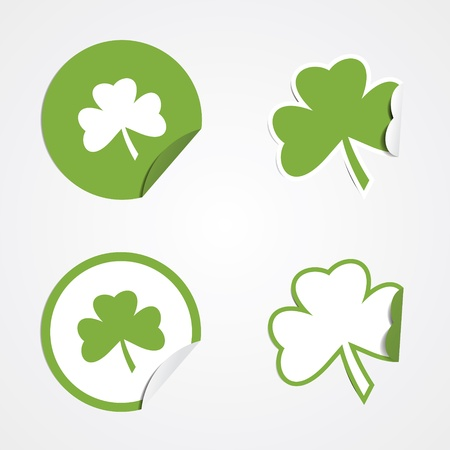 Green clover stickers for the St Patricks holiday.  Vector