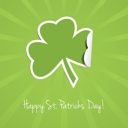 St Patricks Day background with rays and clover leaf. Stock Vector - 12409473