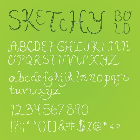 Bold, thick handdrawn sketchy font with numbers, symbols, and upper and lowercase letters.  Vector