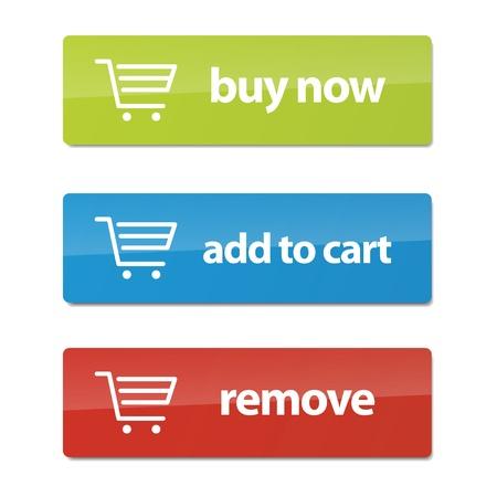 Conjunto de modernos botones de comercio electrónico y los iconos para los negocios. Ilustración de vector