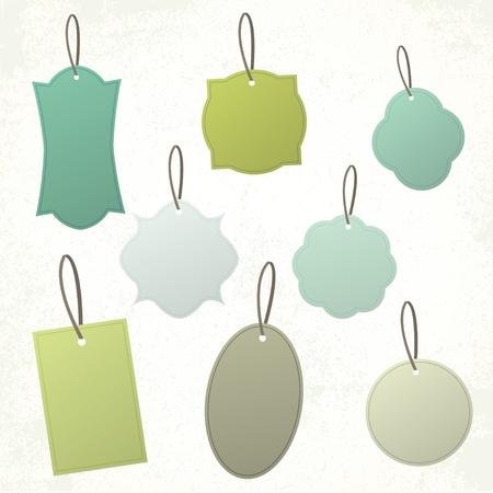 Set di forme d'epoca in bianco e tag d'epoca