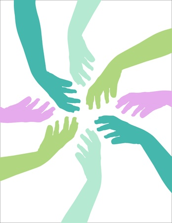 help each other: Colorful hands reach to help each other