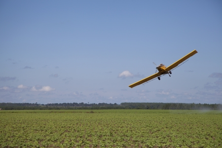 aircraft landing: Off Centered Crop Dusting Plane Stock Photo