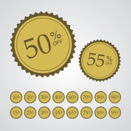 selling off: Set of gold stickers with different percentages off.