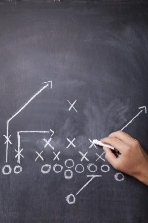 Een hand trekt een voetbal spel op een bord met krijt laten ruimte voor exemplaar Stockfoto