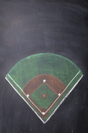A baseball field is drawn on a chalkboard with room for copy  photo