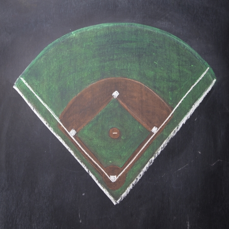 A baseball field is hand-drawn on a chalkboard