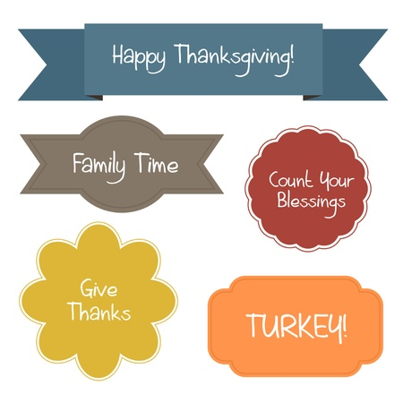 Five colorful shapes contain thanksgiving quotes