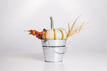 An isolated metal bucket is filled with fall decorations  photo