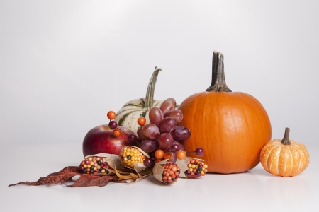 A group of fall decorations sit together on a white background  photo