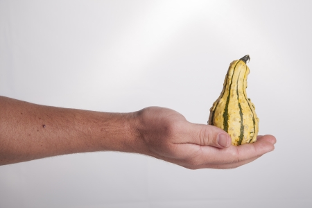 extends: A hand extends and holds a green and yellow gourd on a white background