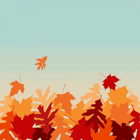 A image of falling leaves from a blue sky