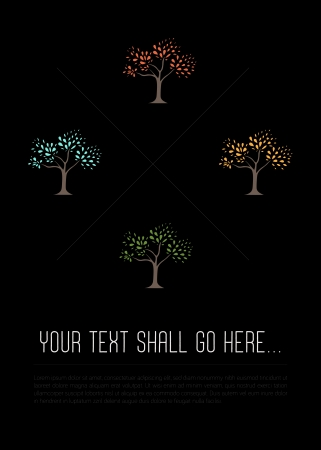 Four colorful hand drawn trees are arranged above a group of text