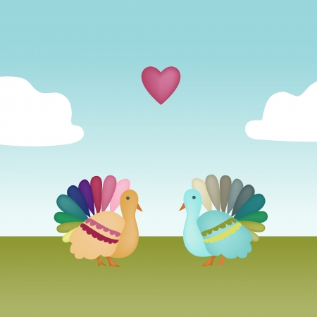 Two colorful turkeys face each other in a field with a heart floating over their heads