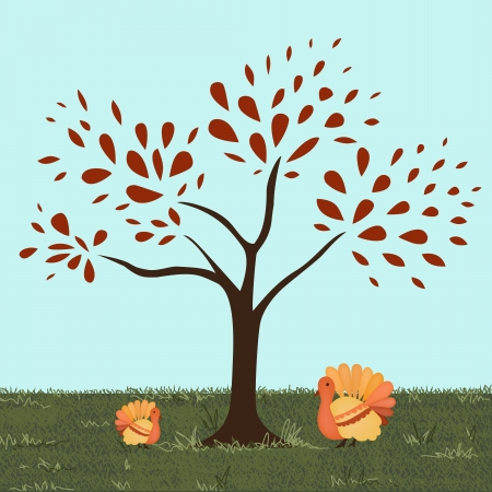 A Mother and baby turkey sit under a red fall tree  Vector