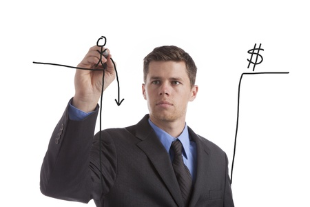 fiscal cliff: A young, tired businessman draws his idea of the coming fiscal cliff.  Stock Photo