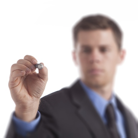 centric: Young business man draws blank diagram on a white background. Stock Photo