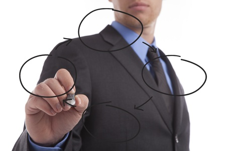 Young business man draws a repeating diagram.