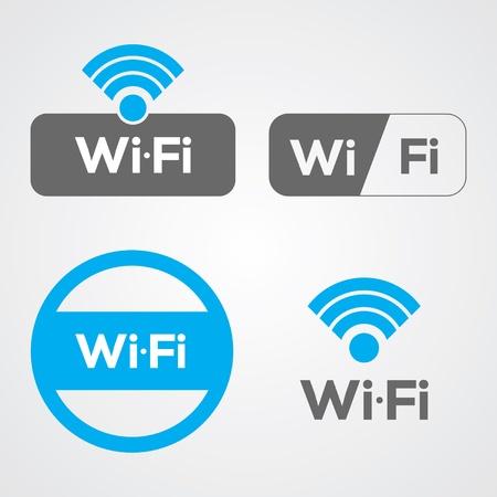 wifi access: Set di quattro icone WiFi per lavoro o per uso commerciale.