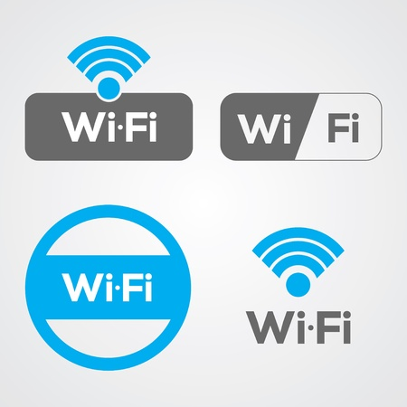 wifi access: Set of four WiFi icons for business or commercial use.