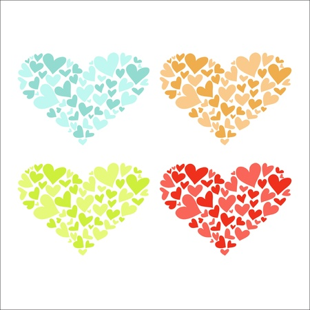 Four Colorful Hearts