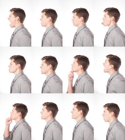 Een dozijn uitingen van een jonge professionele mannelijke worden getoond op een geïsoleerde achtergrond