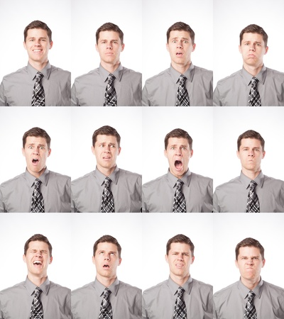 A business man is isolated on white and expressing many different moods