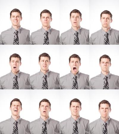 Een zakenman is geïsoleerd op wit en het uiten van veel verschillende stemmingen