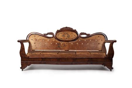 sumptuous:  Antique Wooden Couch Stock Photo