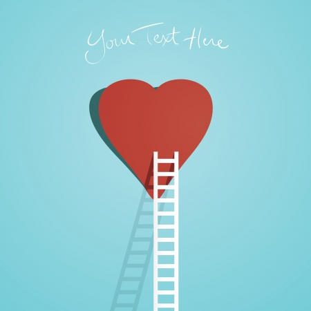 Simple illustration of one ladder leading to a heart.  Vector