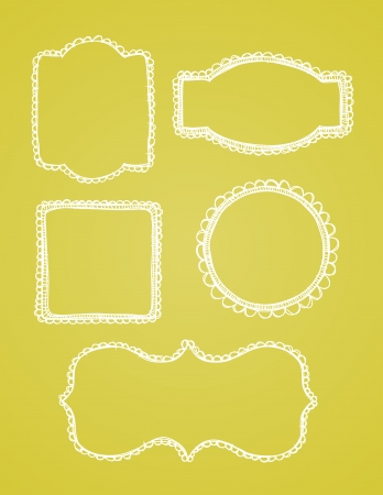 A set of vintage lace hand drawn borders are shown on a yellow background. Illustration