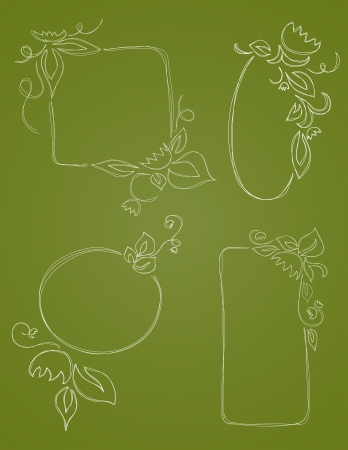 oval: Four Vecor hand drawn borders embellished with flowers and leaves are shown on a green background.