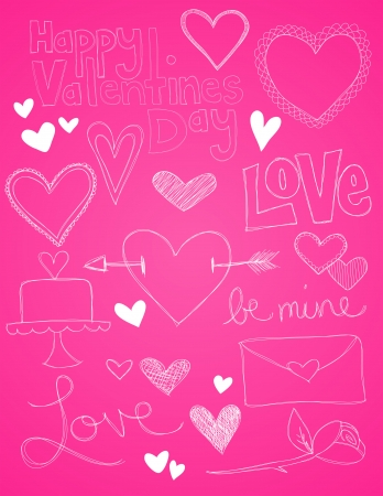 A collection of hand drawn valentines day sketches are shown on a pink background. Illusztráció