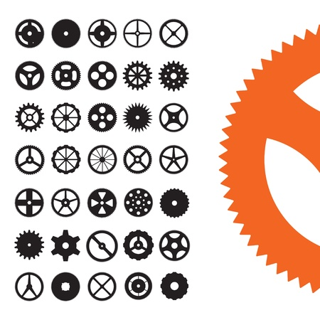 Vector set of gear shapes from clocks and machinery.