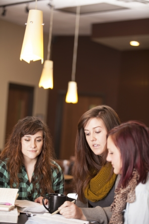 A group of beautiful young women talk around a table with bibles and notebooks. photo