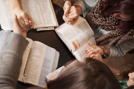 group study: A group of young women bow their heads and pray with bibles.   Stock Photo