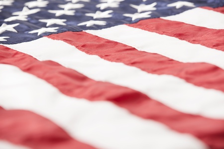 Close-up of an American flag from a low angle.  Stock fotó